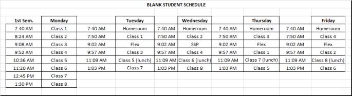 Blank Student Schedule